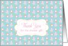 Thank you Bridal Shower Gift Aqua Blue Pink Floral Art card