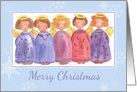 Merry Christmas Whimsical Angel Friends Watercolor Illustration card