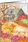 Happy Thanksgiving Autumn Country House Watercolor Landscape card