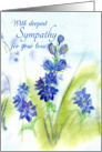 With Deepest Sympathy For Your Loss Blue Watercolor Flowers card