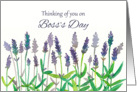 Thinking of You on Boss's Day Lavender Flowers Watercolor card