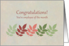 Congratulations Employee Of the Month Green Leaves card
