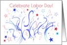 Celebrate Labor Day Red White Blue Stars Confetti card