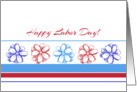 Happy Labor Day Red White Blue Flowers Stripes card