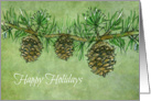 Happy Holidays Evergreen Pinecone Branch Botanical Drawing card