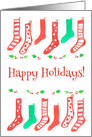 Happy Holidays Red Christmas Stockings Watercolor Illustration card