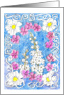 Happy Birthday Friend White Larkspur Flowers Drawing card