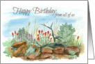 Happy Birthday From All of Us Desert Landscape Watercolor Art card