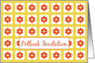 Potluck Party Invitation Bright Summer Red Yellow Flowers card