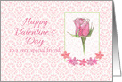 Happy Valentines Day Special Friend Pink Rose Damask card