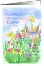 Happy Easter Spring Bunny Birds Butterflies Watercolor Painting card
