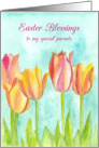 Happy Easter Season Blessings To You Pink Tulip Flowers card