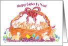 Happy Easter Basket of Bunnies Watercolor Rabbits card