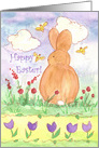 Happy Easter Bunny Bees Watercolor Spring Flower Meadow card