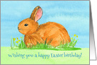 Happy Birthday Easter Baby Bunny Watercolo Spring Flowers card