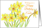 Happy Birthday Easter Yellow Daffodil Flowers card