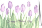Happy Mother's Day Purple Tulip Garden Watercolor Art card