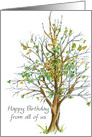 Happy Birthday From All of Us Business Card Autumn Tree card