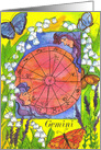 Happy Birthday Gemini Zodiac Sign Astrology Watercolor Art card