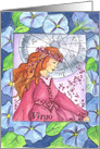 Happy Birthday Virgo Zodiac Sign Astrology Watercolor Art card