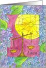 Happy Birthday Libra Zodiac Sign Astrology Watercolor Art card