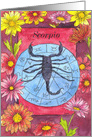 Happy Birthday Scorpio Zodiac Sun Sign Chrysanthemum Flowers card