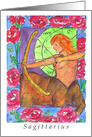 Happy Birthday Sagittarius Zodiac Sign Astrology Watercolor Art card