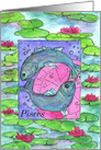 Happy Birthday Pisces Zodiac Sign Astrology Watercolor Art card
