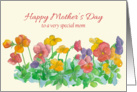 Happy Mother's Day Pansy Flower Watercolor Painting card