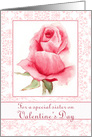 Happy Valentine's Day Sister Watercolor Pink Rose Flower card