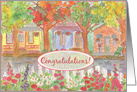 New Home Congratulations Cottage Houses Neighborhood Painting card
