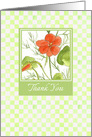 Orange Nasturtium Watercolor Flower Blank Thank You Card