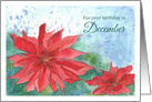 Happy December Birthday Red Poinsettia Watercolor Flower card