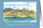 Happy Grandparents Day Lake Mountains Watercolor Painting card