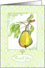 Thank You Pear Fruit Green Leaves Watercolor Art card