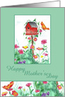 Happy Mother's Day Red Birdhouse Butterfly Watercolor Art card