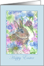 Happy Easter Rabbit Spring Garden Watercolor card