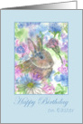 Happy Birthday on Easter Rabbit Spring Garden Watercolor card