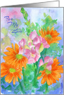 For My Love Watercolor Flower Bouquet card