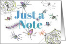 Just A Note Spiders Insects Bugs Blank card