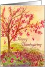 Happy Thanksgiving Autumn Tree Falling Leaves card