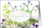 Thinking of You Herb Garden Wildflower Botanical Watercolor card