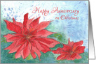 Happy Anniversary On Christmas Red Poinsettia Flower card