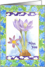 Miss You Purple Crocus Watercolor Flower Painting card