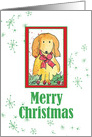 Merry Christmas Dog Pet Snowflakes Holiday Watercolor Illustration card