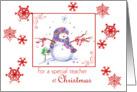 Teacher Christmas Snowman Snowflakes card