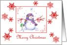 Merry Christmas Little Snowman Snowflakes card
