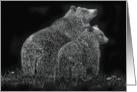 Bears Wildlife Black White Meadow Note Card