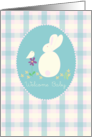 Congratulations Welcome Baby Girl Rabbit Bird Flowers card