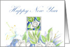 Happy New Year White Roses Lily Flower Watercolor card